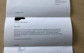 google response to 7 year old girl job application